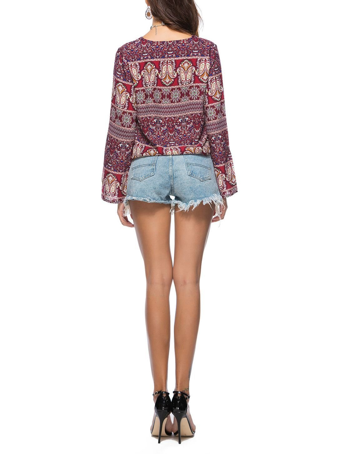 Laced Front Boho Top with Long Sleeves