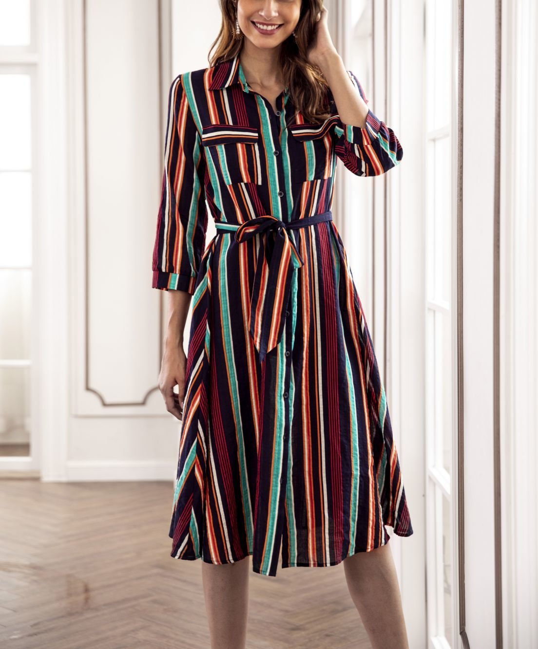 Striped Work Dress with Tailored Features