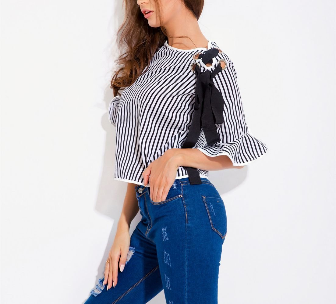 Cropped Top with Ruffled Sleeves and Eyelet Detail