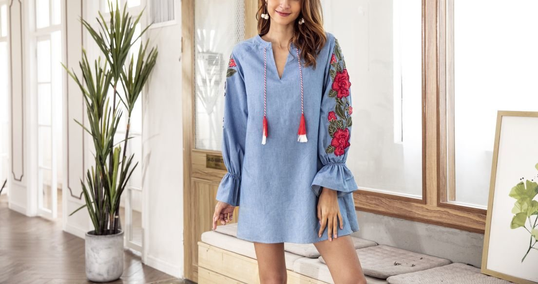 Denim Casual Dress with Lovely Embroidered Sleeves