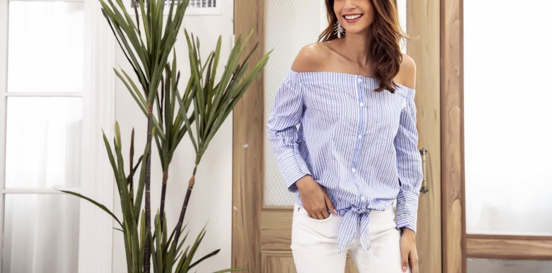 Off-Shoulder Top with Long Sleeves and Tied Waist