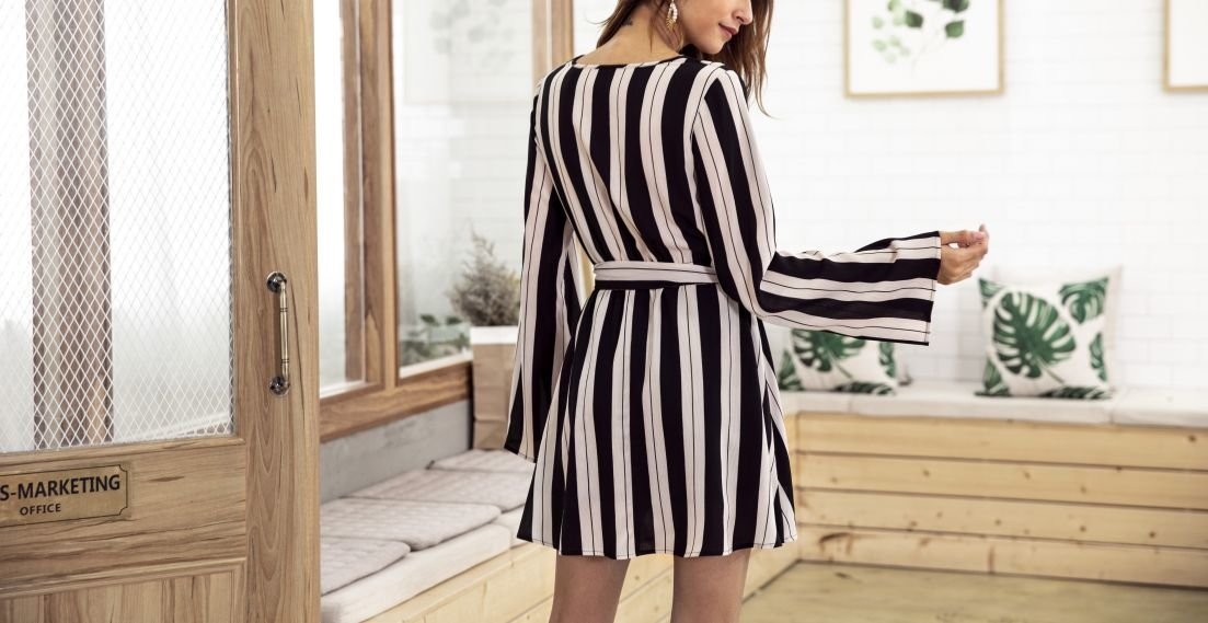 Bold Stripes Cocktail Dress with Long Flared Sleeves