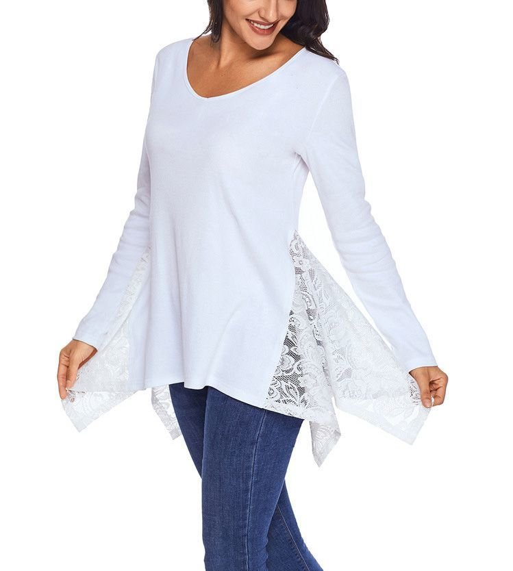 Tunic Top with Lace Godets at Sides