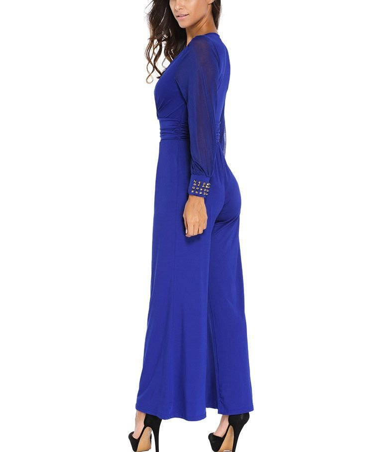 Dramatic Jumpsuit with Studded Cuffs and Wide Legs