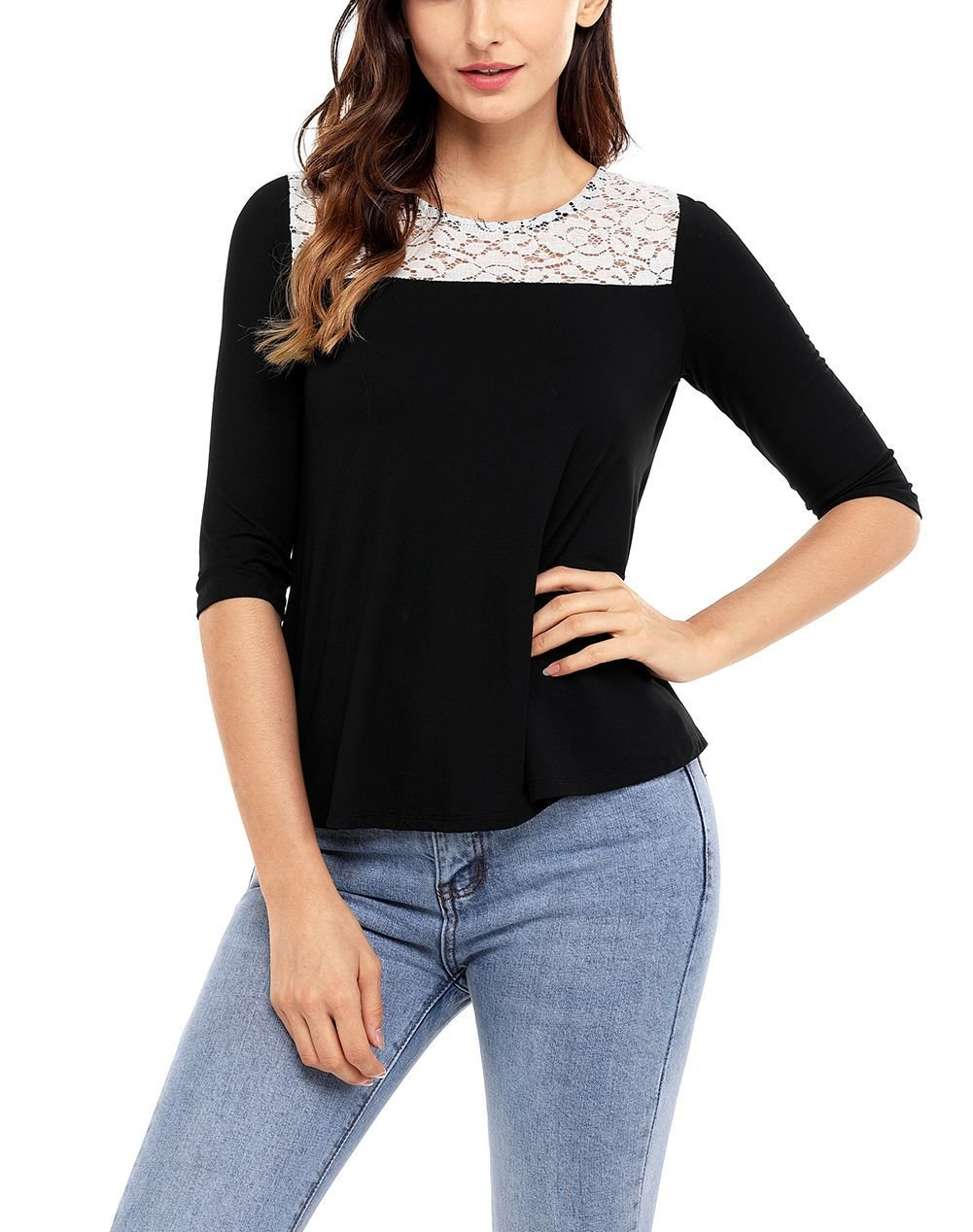 Lace Yoke Tee Top in Large Sizes