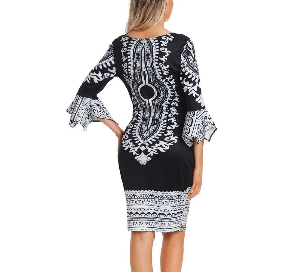 Bodycon Cocktail Dress with Dramatic Print
