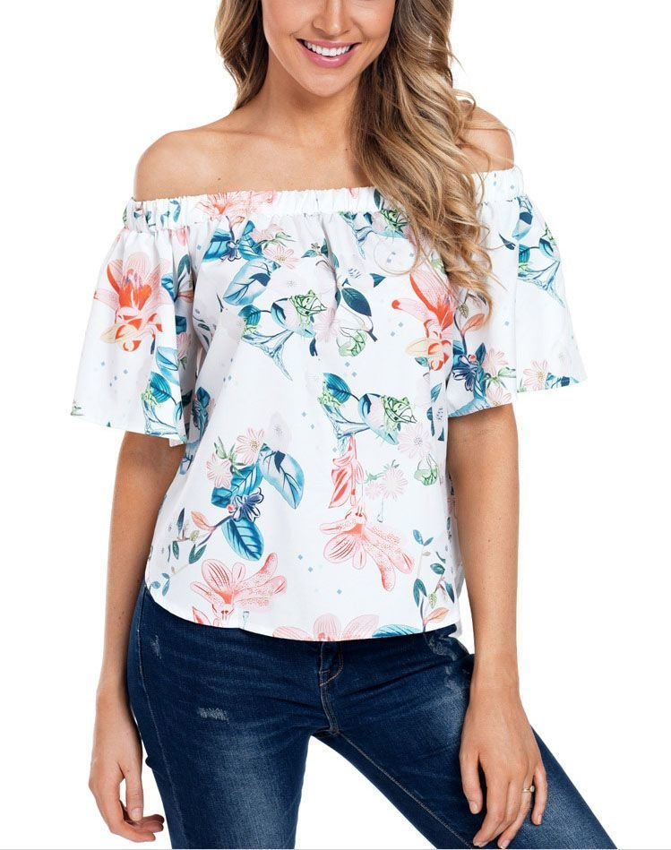 Off-Shoulder Large Size Top with Flutter Sleeves