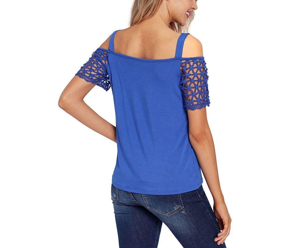 Camisole Top with Lace Sleeves and Cold Shoulders