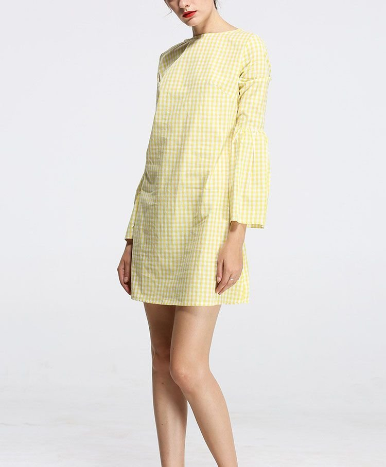 Casual Dress with Boat Neckline and Long Sleeves