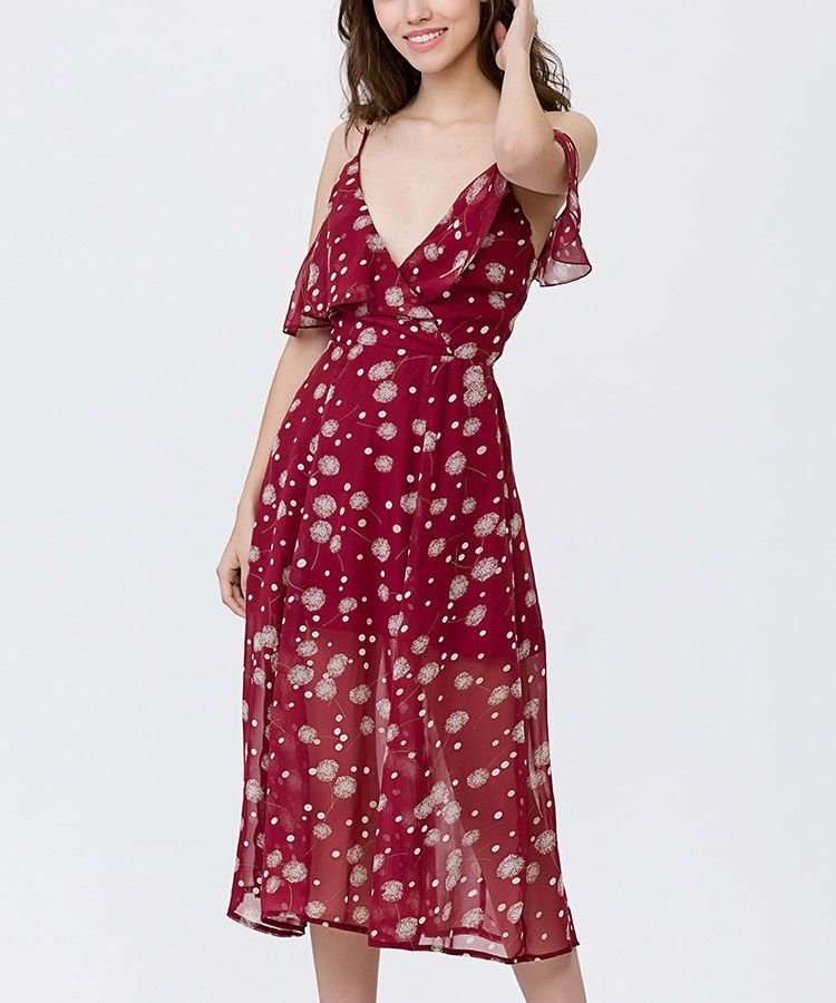 Chiffon Formal Dress in Tea Length with Cold Shoulders