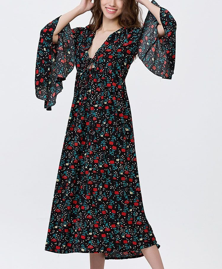 Casual Dress with Long, Ruffled Sleeves