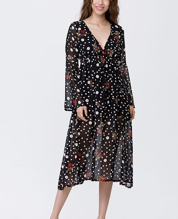 Chiffon Cocktail Dress with Long, Ruffled Sleeves