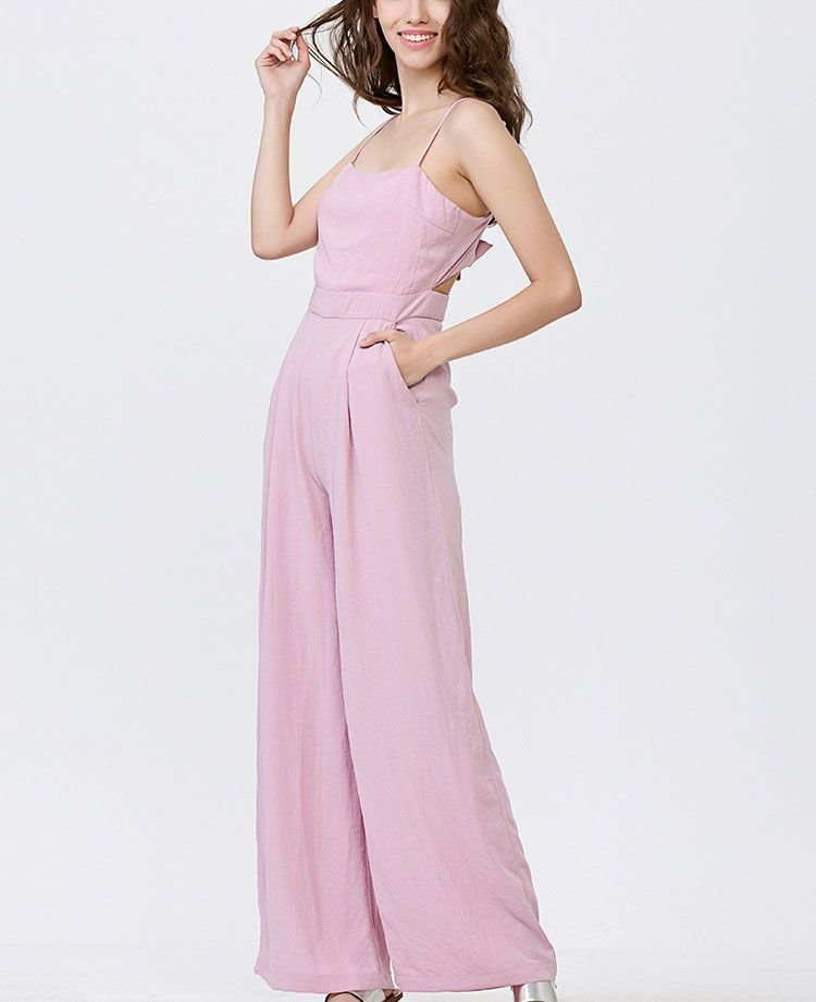 Long Overall Romper with Tie Back