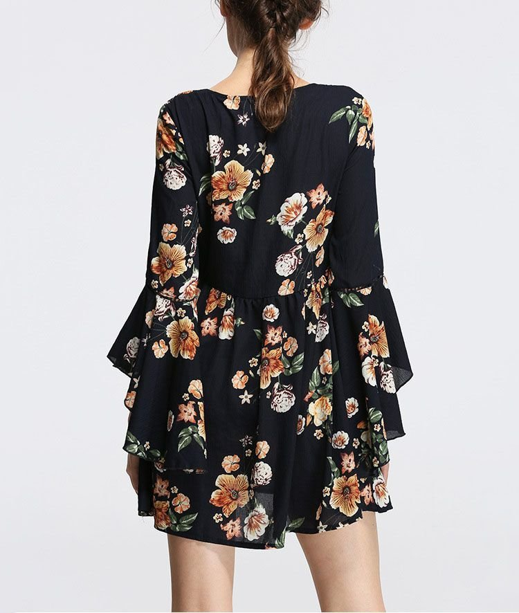 Mini V-Neck Cocktail Dress with Ruffled Long Sleeves