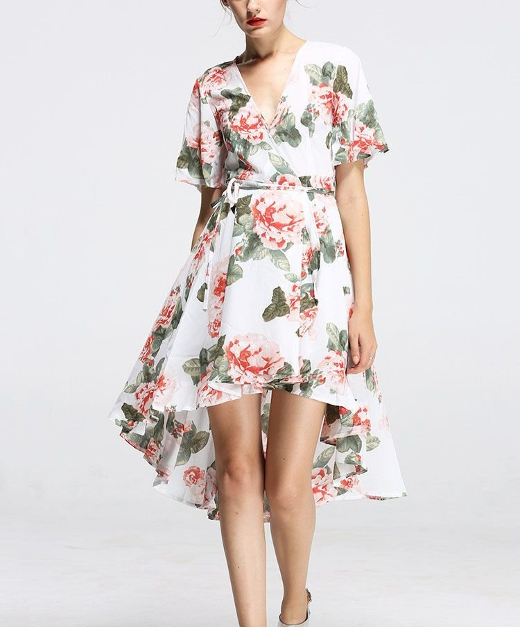 Floral Wrap Cocktail Dress in Chiffon