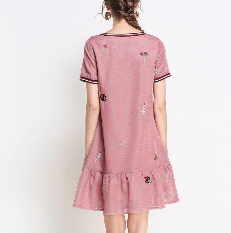 Casual Dress with Heart Embroidery