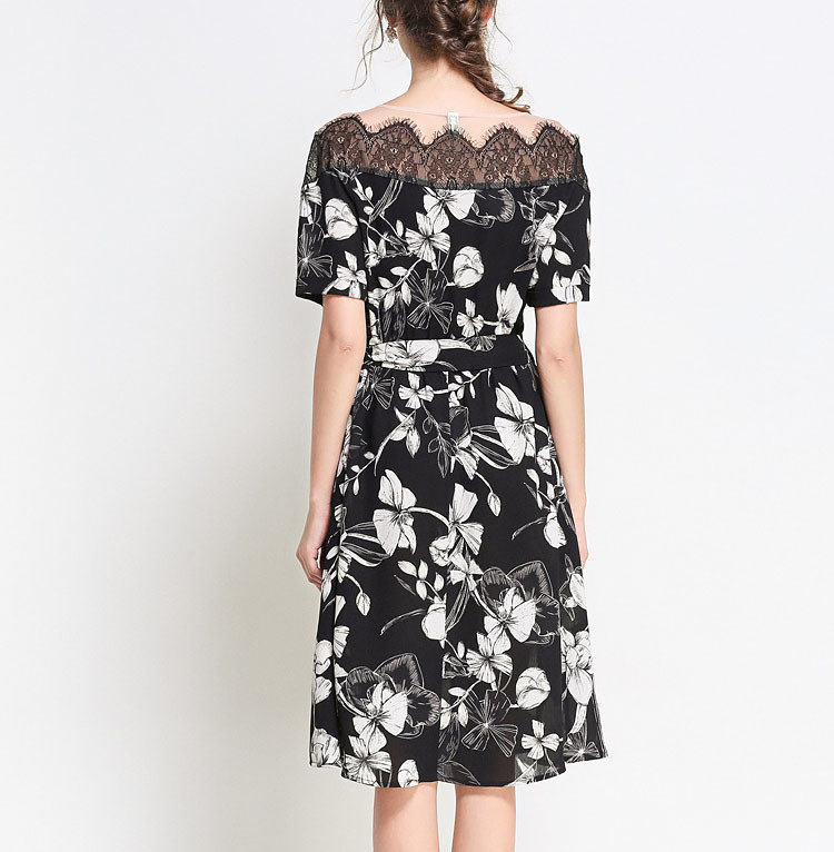 Short Formal Dress with Off-Shoulder Neckline in Scalloped Lace