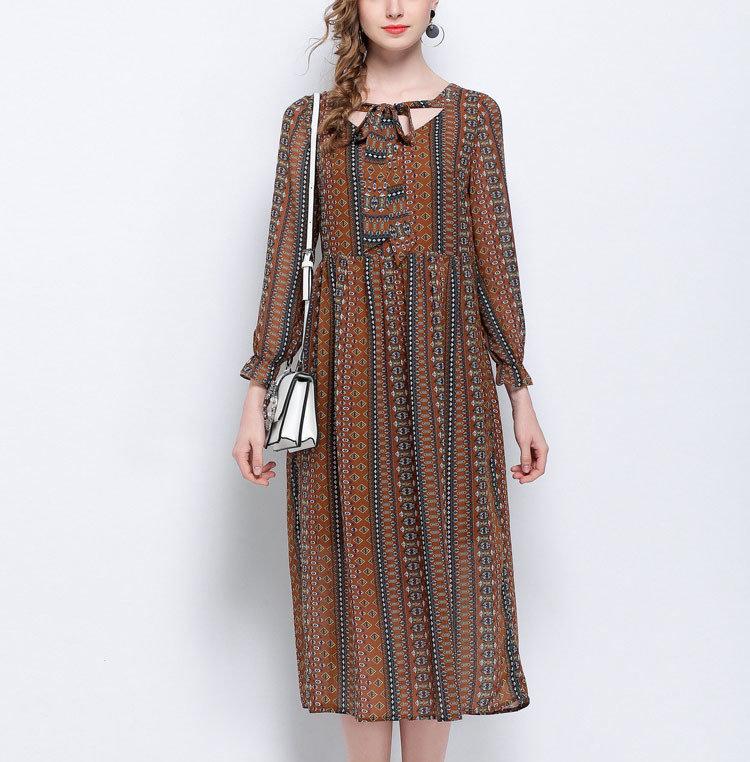 Chiffon Work Dress with Boho Style