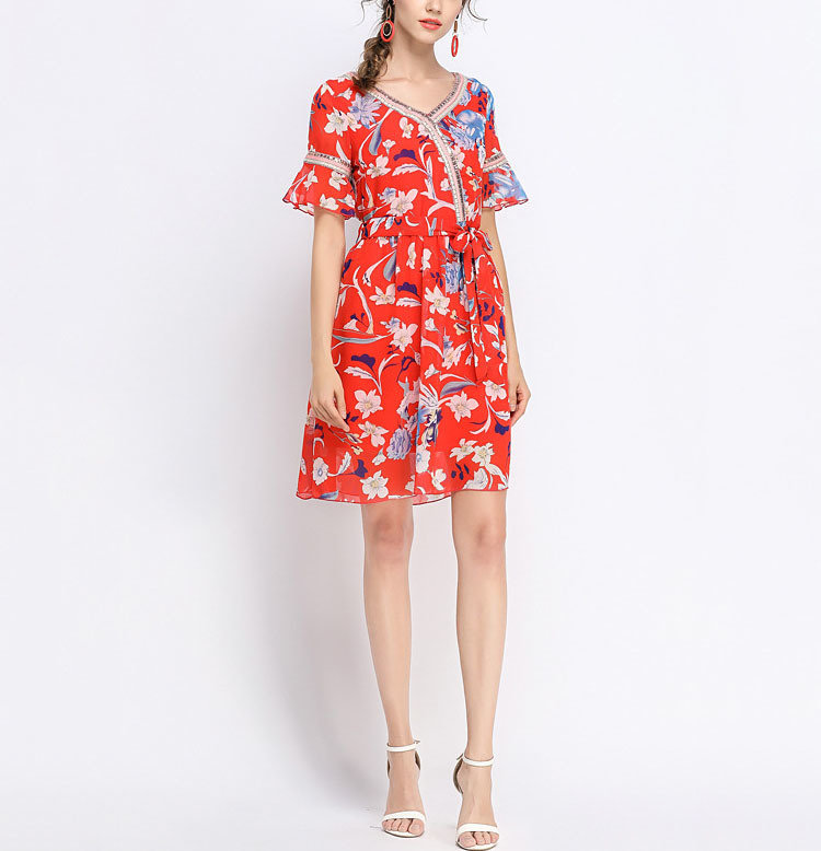 Cocktail Dress in Chiffon with Contrast Trim
