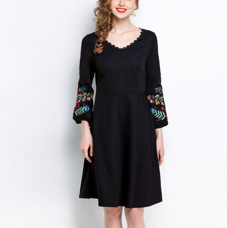 Formal Dress with Lace-Trimmed Neckline and Embroidered Sleeves