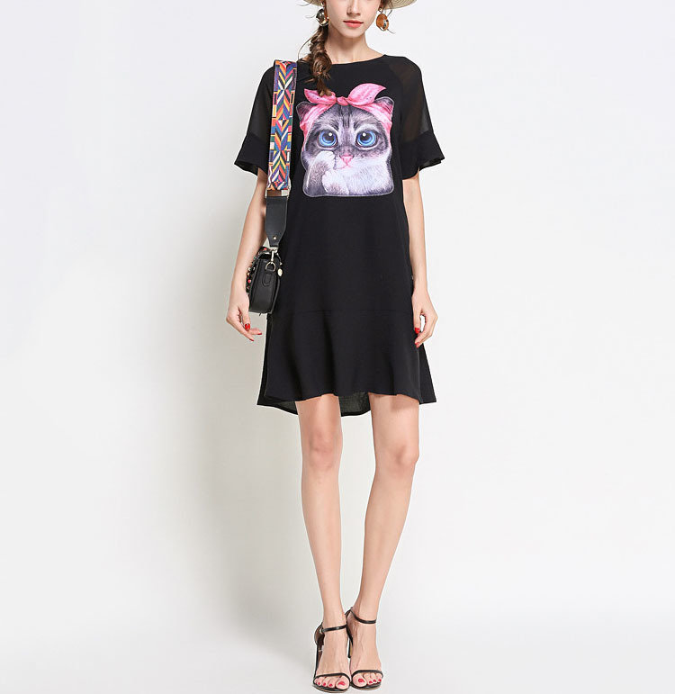 Casual Dress with Cat Graphic and Ruffles