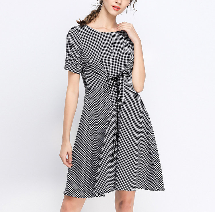 Casual Dress with Laced Waist and Flared Skirt