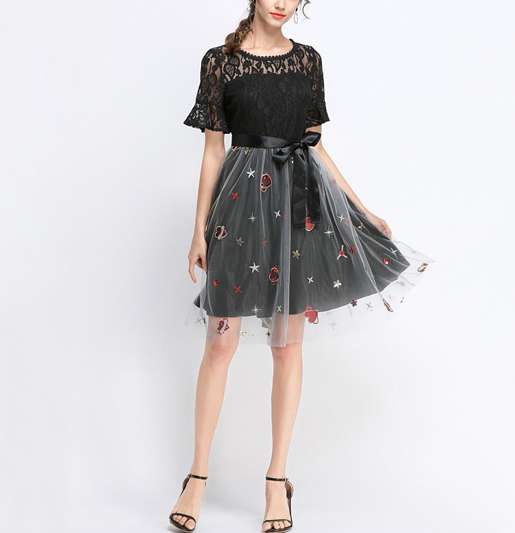 Formal Dress with Lace Top and Heart Embroidery