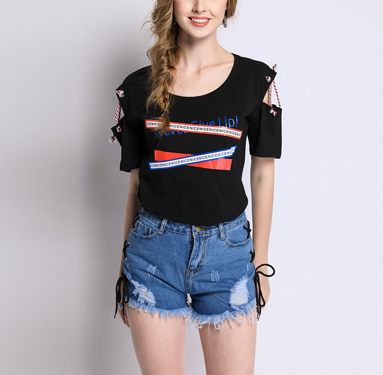 Large Size Tee with Laced Elbow-Length Sleeves