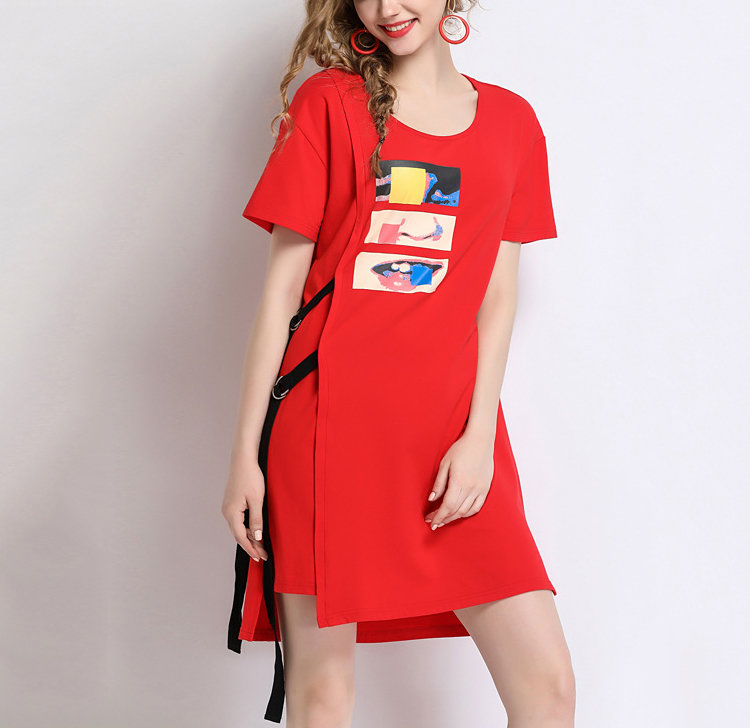 Casual Dress with D-Rings, Lacing, and Screen Printing