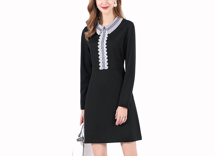 Work Dress with Contrast Collar and Front Details