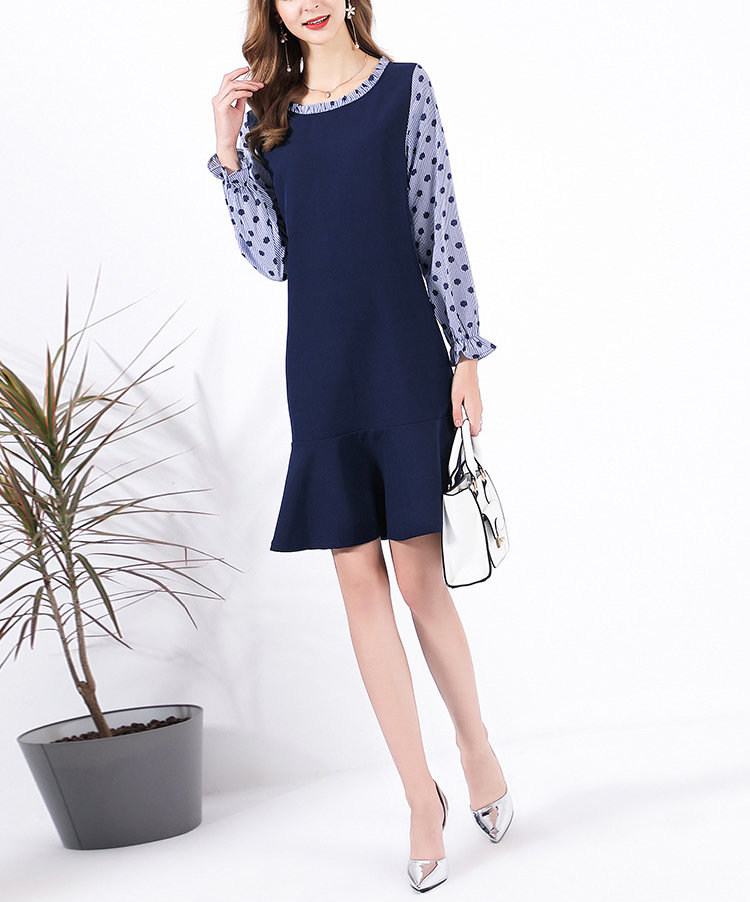Work Dress with Dropped Waistline and 2-Piece Look