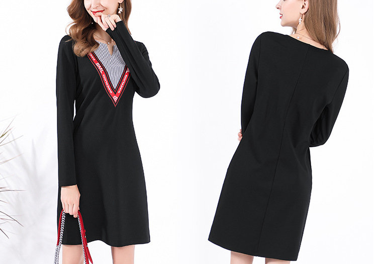 Work Dress with V-shaped Front Insert