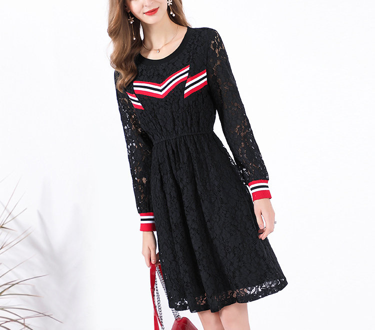 Lace and Stripes Cocktail Dress