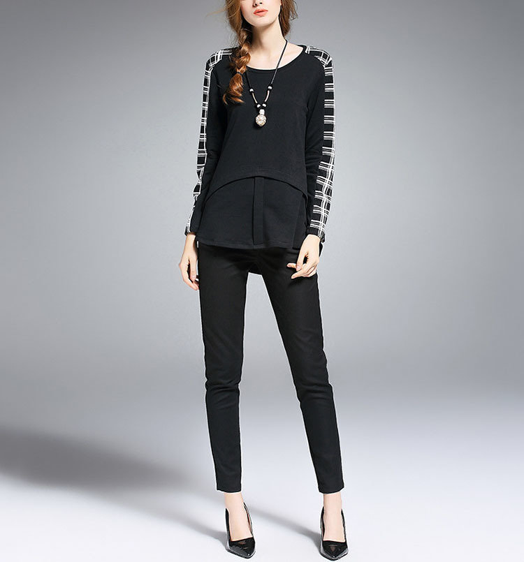 Top with Shaped Seams and Contrasting Long Sleeves
