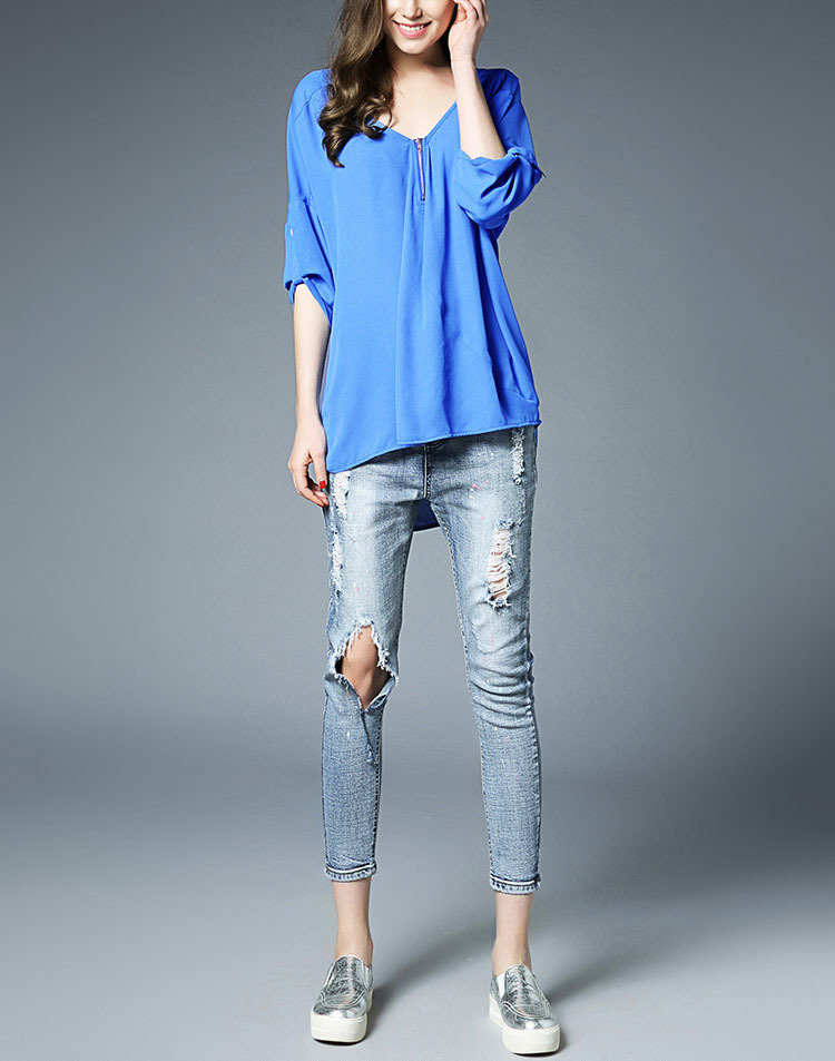 Oversized Top with Front Exposed Zipper