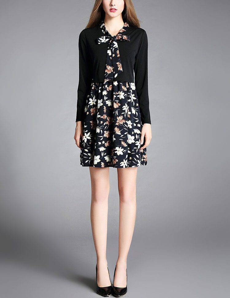 Work Dress with Bow Neck and Faux Jacket