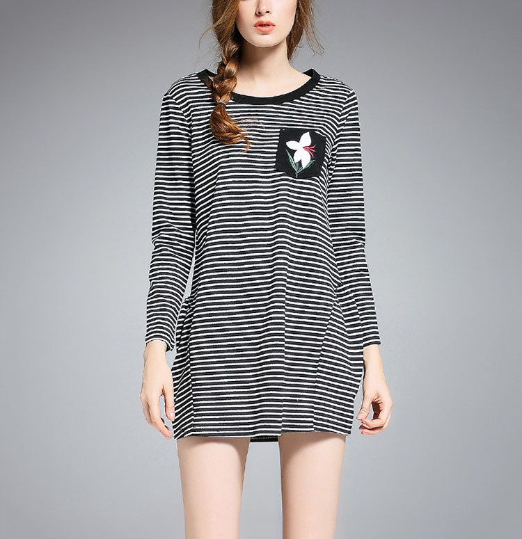 Striped Mini Casual Dress with Long Sleeves