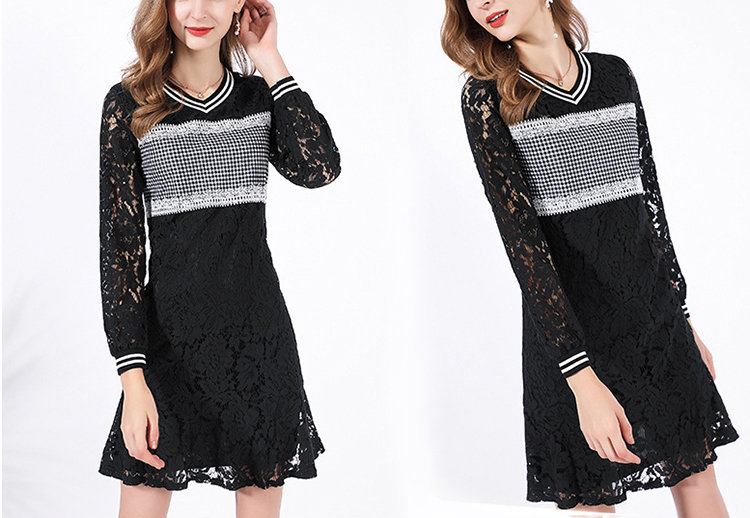 Lace and Stripes Casual Dress