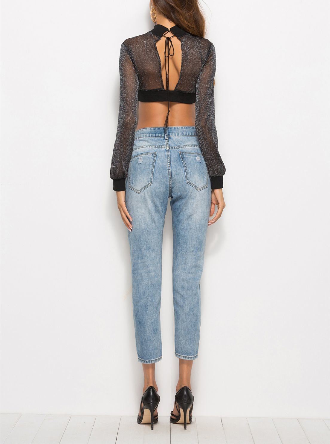 Cropped Top with Sheer Metallic Sleeves and Yoke
