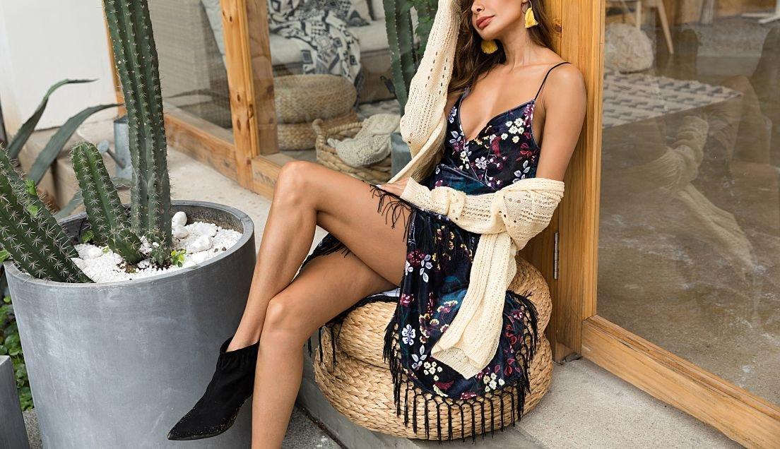 Velvet Club Dress with Fringed Hem