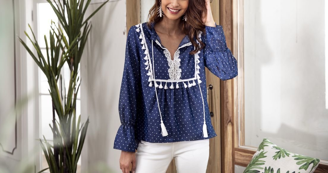 Denim Top with Lace and Tassel Trim