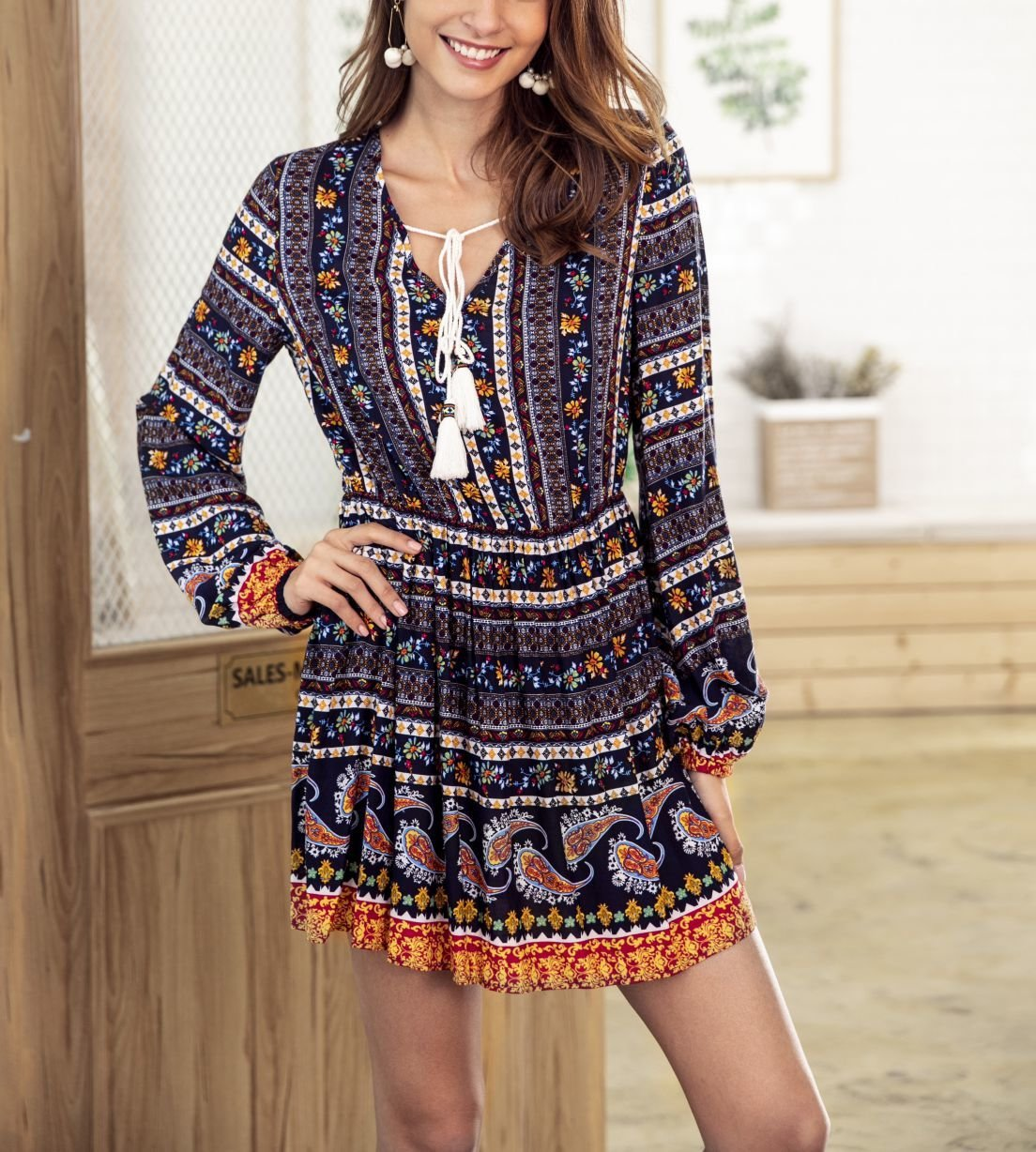 Boho Mini Casual Dress in Synthetic Cotton
