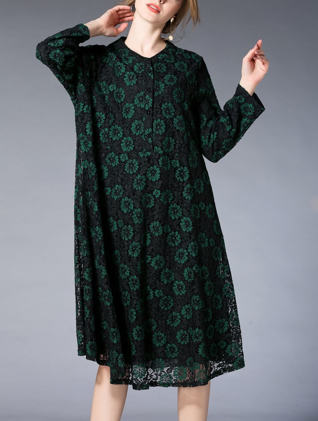Plus Size Dress for Work in Lace Fabric
