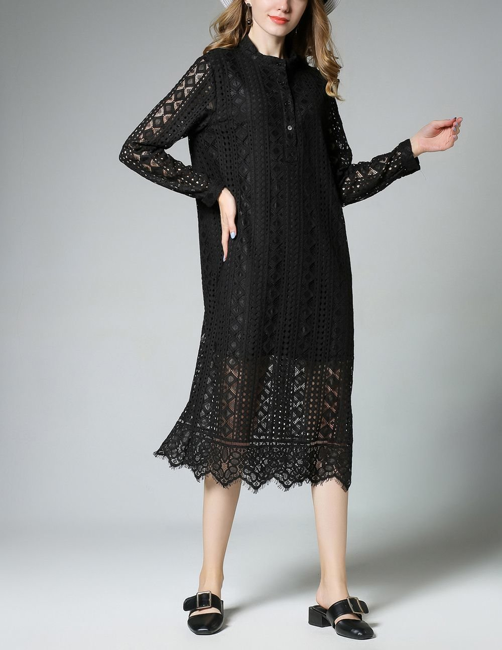 Plus Size Lace Casual Dress