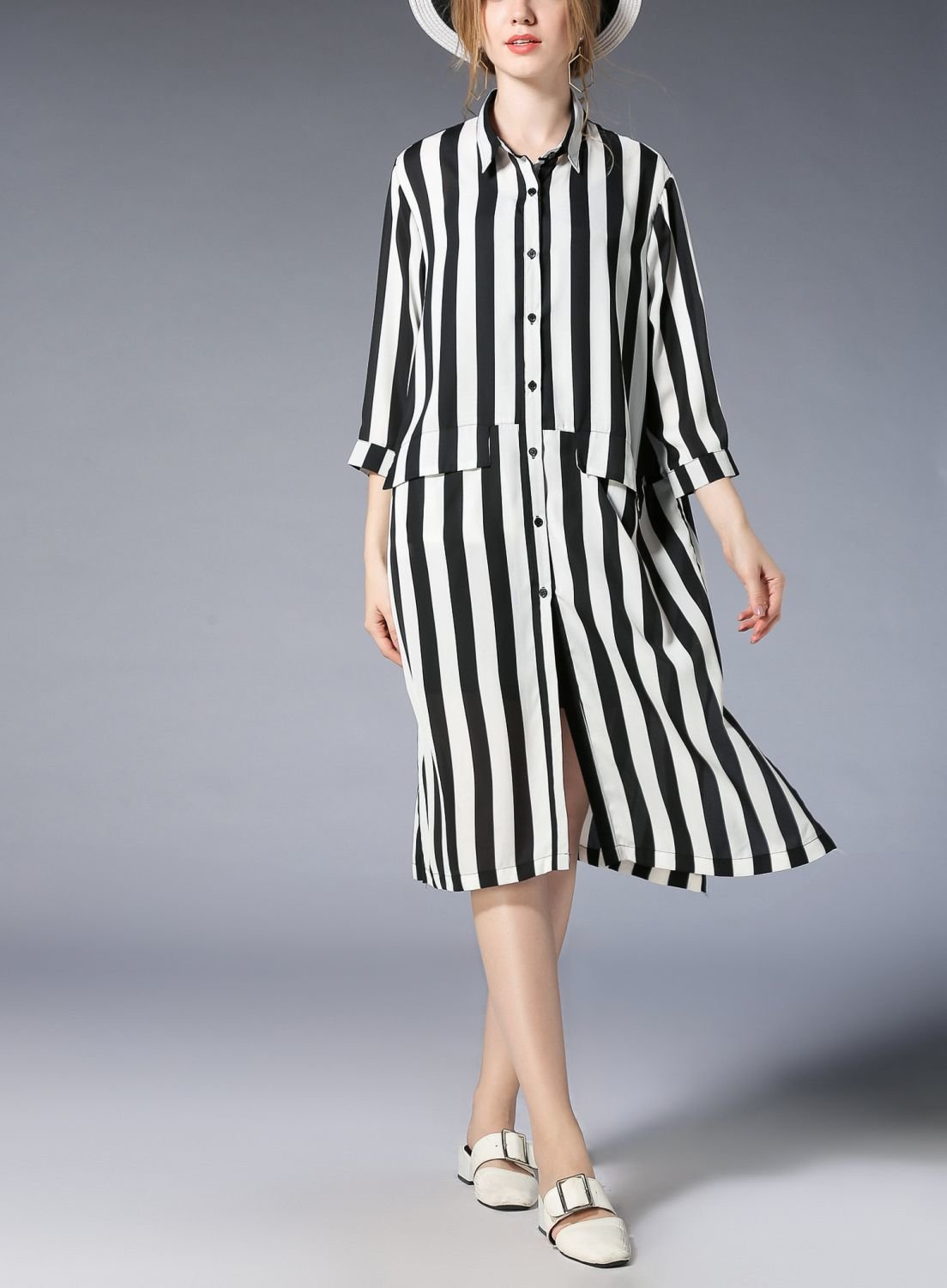 Wide Stripe Casual Dress with Pockets