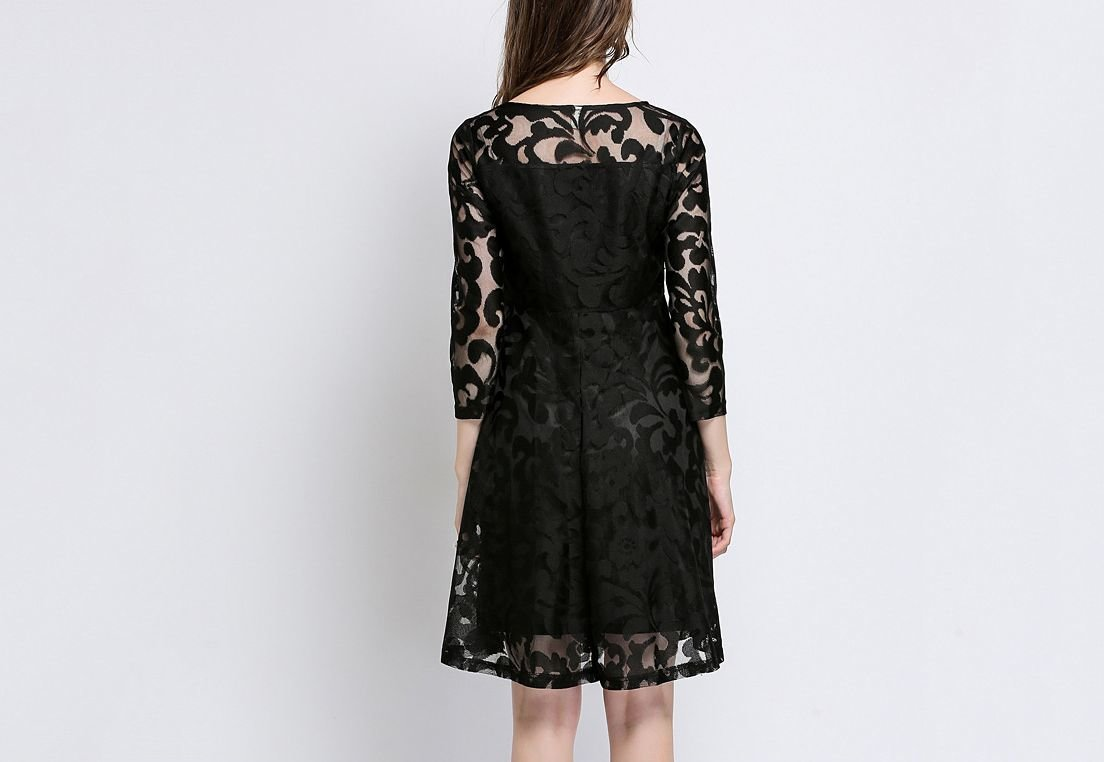 Knee-Length Lace Formal with 3/4 Sleeves