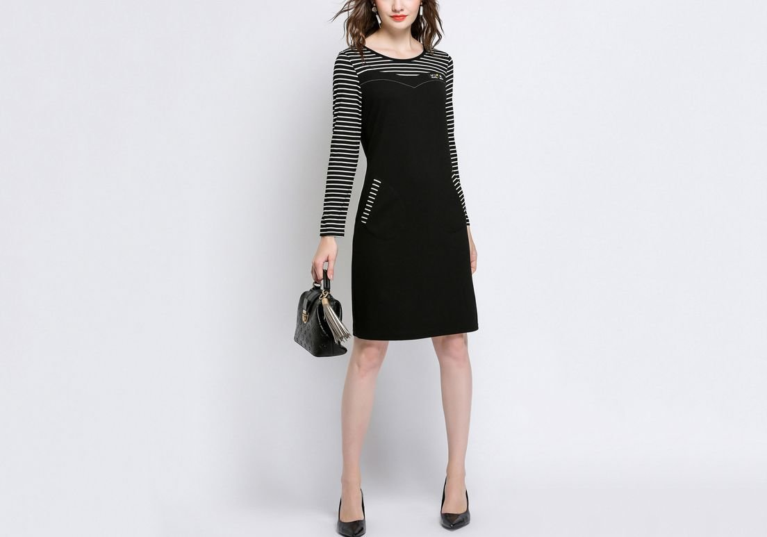 Sleek Work Dress with Slit Pockets in Plus Sizes