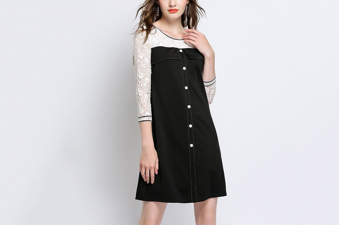 Work Dress with Embroidered Lace Sleeves