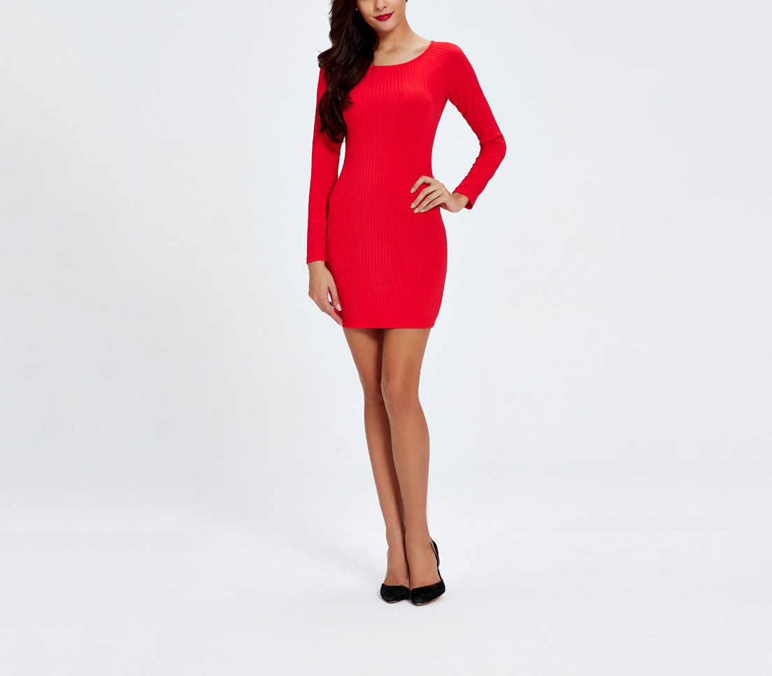 Ribbed Knit Bodycon Cocktail Dress