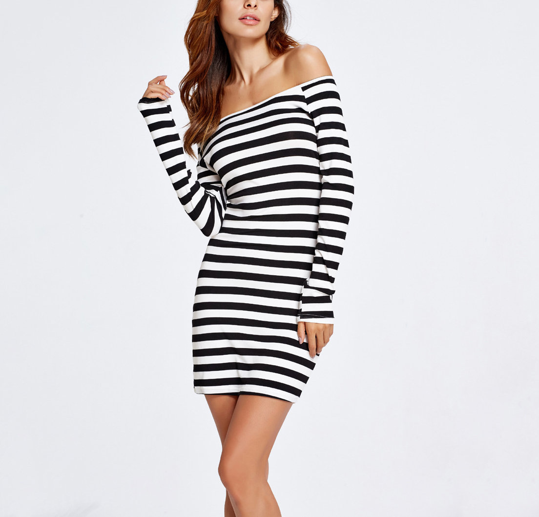 Casual Dress with Horizontal Stripes